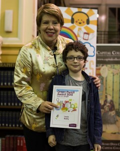 Edible Edinburgh chairperson Councillor Lesley Hinds and Green Pencil Award winner Louis Reilly.