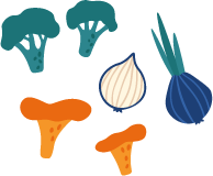 Illustration of an assortment of fresh ingredients