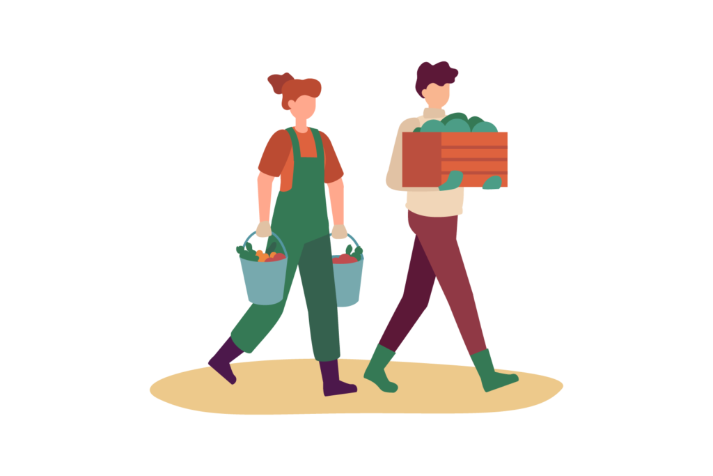 Illustration of a people carrying harvested produce