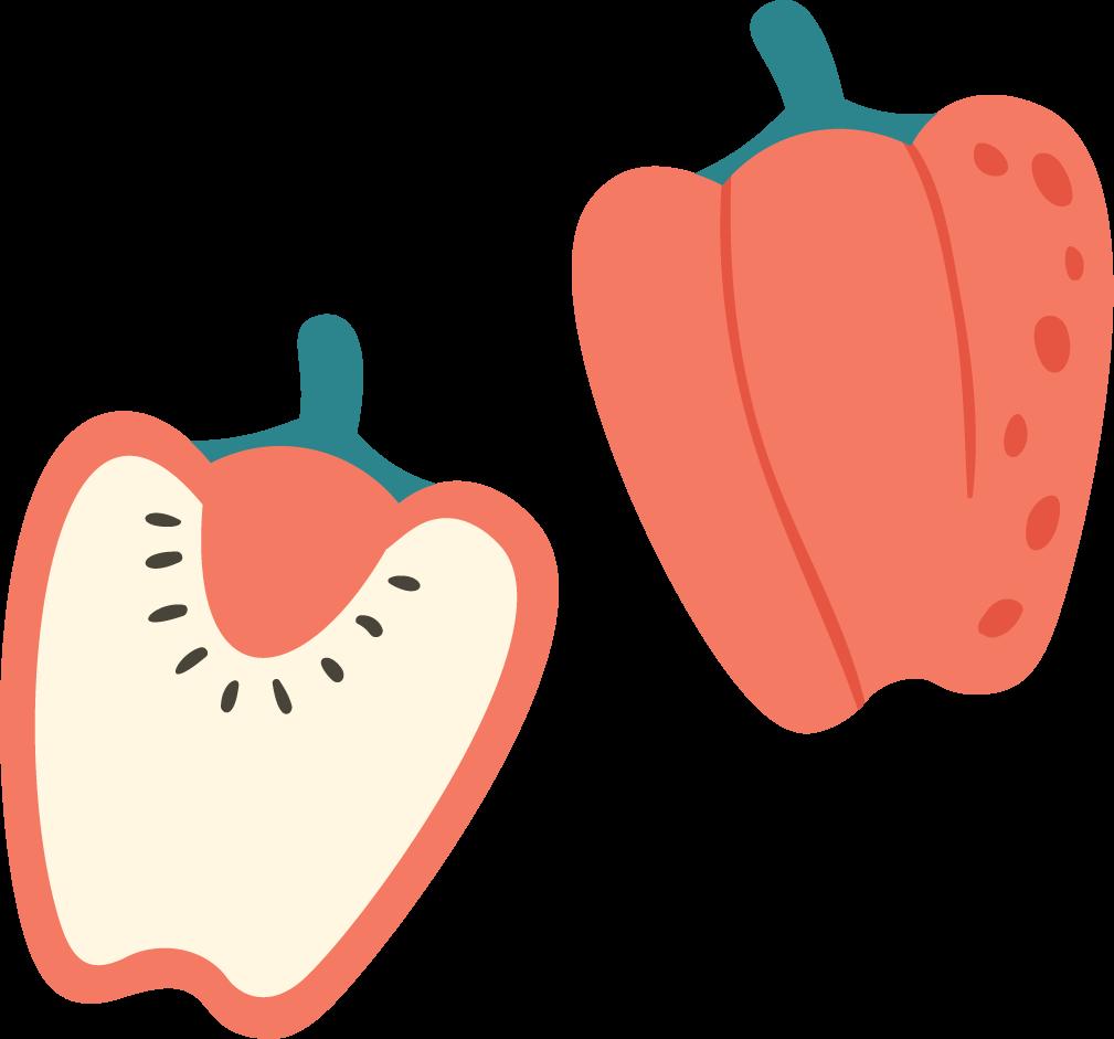 Illustration of a pepper sliced in half