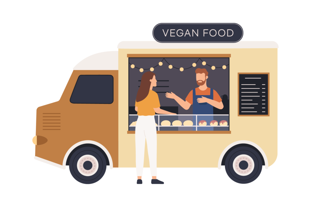 Illustration of a vegan food truck